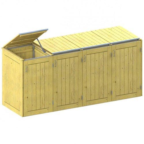 traumgarten m lltonnenbox nadelholz f r 4 x 240 liter tonnen mit klappdeckeln g nstig. Black Bedroom Furniture Sets. Home Design Ideas