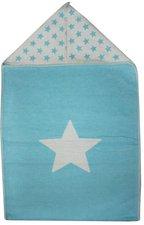 David Fussenegger Einschlagdecke Sterne mit Kapuze 45 x 76 cm hellblau