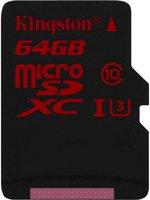 Kingston microSDXC 64GB Class 10 UHS-I U3 (SDCA3/64GBSP)