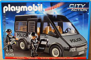 playmobil polizei mannschaftswagen mit licht und sound 6043. Black Bedroom Furniture Sets. Home Design Ideas