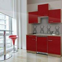 Respekta Küchenzeile 150cm rot Eiche Sägerau (KB150ESR)