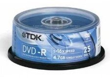 TDK DVD-R 4,7GB 120min 16x bedruckbar 25er Spindel
