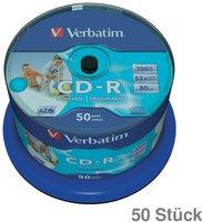 Verbatim CD-R 700MB 52x AZO ganzflächig bedruckbar 50er Spindel