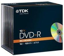 TDK DVD-R 4,7GB 120min 16x 10er Slimcase