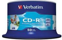 Verbatim CD-R 700MB 80min 52x AZO ganzflächig Tintenstrahl bedruckbar ID Brand 50er Spindel