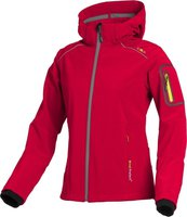 CMP Campagnolo Women Softshell Jacket Zip Hood (3A05396) Red Fluo-Grey Yellow