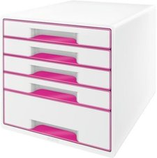Leitz Box Wow Cube (4 Schübe) perlweiß/pink