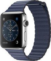 Apple Watch Series 2 Edelstahl silber mit Lederarmband mit Schlaufe blau