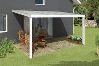 Skanholz Aluminium-Terrassenüberdachung Genua weiß (434 x 307 cm)